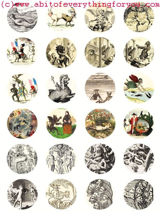 vintage creatures monsters clip art digital download collage sheet 1.5 inch circles graphics images printables pendants magnets