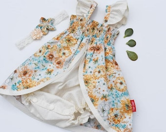 Playsuit Dress - Golden Blooms -  Ruffle sleeves and snap crotch - Butterflies and Blooms Collection