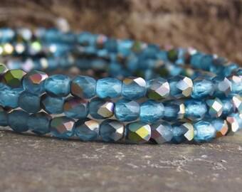 Matte Aqua AB Czech Glass Bead 4mm Firepolish  Round : 50 pc 4mm Aqua Round Beads