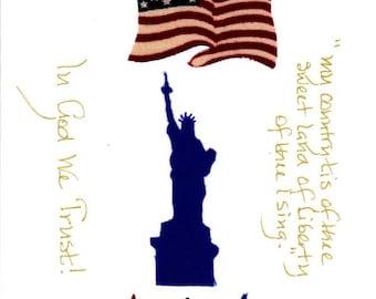 Handmade Patriotic Note Card