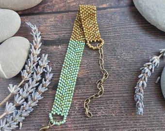 Bright Beaded Bracelet - mottled green and brown