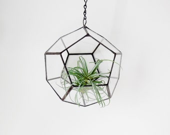 Large Hanging Terrarium, Modern industrial geometric planter, dodecahedron plant holder with chain. Made to order