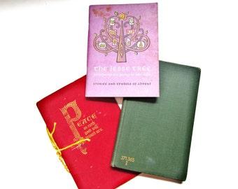 Three Vintage Christmas Books, The Jesse Tree, Christmas Book, Peace on Earth