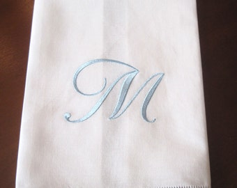 "New Linen/Cotton Blend ""M"" Monogrammed Towel with Drawn Work Stitching and Hand Sewn Blue/White Trim."