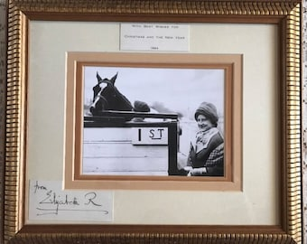 Queen Elizabeth Queen Mother Signed Christmas Card Framed 1964