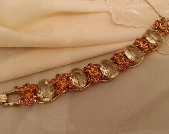 Unique Vintage Costume Bracelet with Taupe and Orange Glass Stones in Unique Design