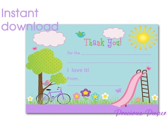 Digital park party thank you notes Instant Download park fill in the blank thank you notes