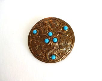 Vintage French Art Nouveau Round Copper Brooch / Pin with Persian Turquoise