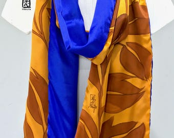 Hand painted Silk Scarf, Mustard scarf, reversible scarf, Floral scarf summer, Charmeuse Silk Scarf, Ultramarine Blue and Mustard Vine
