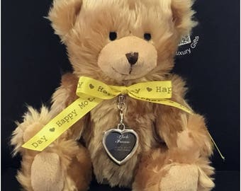 Mothers Day Gifts - 25cm Teddy Bear with a Silver Tone Photo Frame and Box