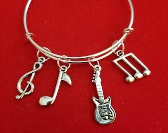 Silver Guitar Themed Charm Bracelet