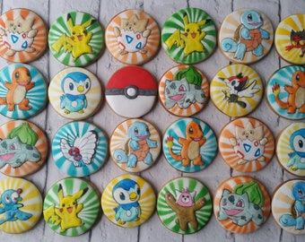 Pokemon cookies, pokemon party favors, birthday gift, party bag fillers, gift for boys, pikachu cookie
