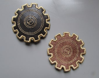 Embroidered Faux Brown Leather Pair of Cog Steampunk Appliques