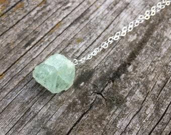 Raw Aquamarine Pendant Necklace, Aquamarine Silver Necklace, Aquamarine Pendant Necklace, Raw Aquamarine Pendant, Aquamarine Necklace