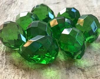 9pc 25x18mm Green Peridot Faceted Tear Drop, August, Large Briolette, Glass Beads, Glass Tear Drop, Destash Jewelry Making Supplies, Jewelry