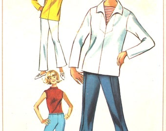 UNCUT Blouse with V Neck and Bell Bottom Pants Simplicity 6364 Vintage Sewing Pattern