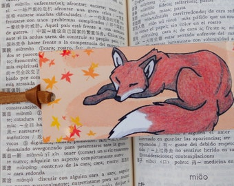 Bookmark sleeping cute red fox - woodland illustration - forest animal artwork - furry drawing
