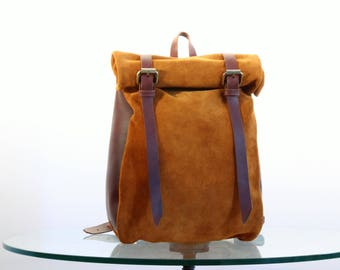 Suede/ Oiled leather roll backpack