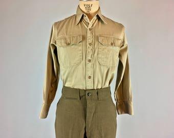 Vintage Pale Cocoa Cotton Blend Men's Shirt, Size Small, Elbeco, ca 1940s