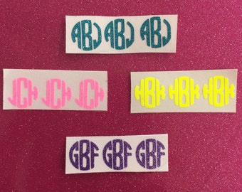 Glitter or Neon Monogram iPhone Button Phone Sticker Decal Set of 3