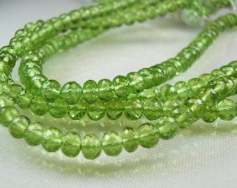 Peridot Rondelles Micro Faceted  AAA Peridot Gemstone Beads   8 inches