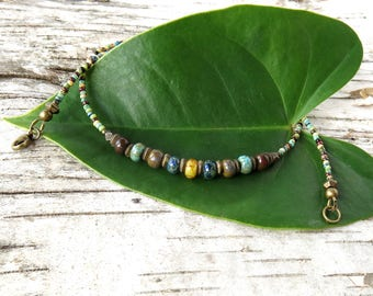 Multicolored bead necklace - picasso glass & antiqued bronze beads