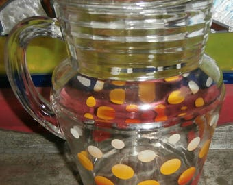 vintage kitchen polka dot glass lemonade iced tea pitcher with ice lip yellow red white polka dots