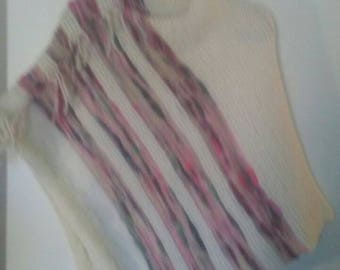 White and pink striped poncho