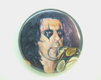 Vintage 1970s Alice Cooper with Boa Constrictor Snake Pin / Button / Badge