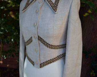 Sublime Fitted Tailored Vintage 1970s Couture Jacket Barry Sharrard - Dagger Collar
