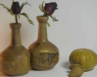 bud vase, turned wooden bud vase,hand turned bud vase, weed pot, hand turned weed pot, couple