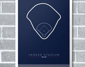 "New York Yankees Stadium Infield 11"" x 17"" Minimal Print Baseball Poster"