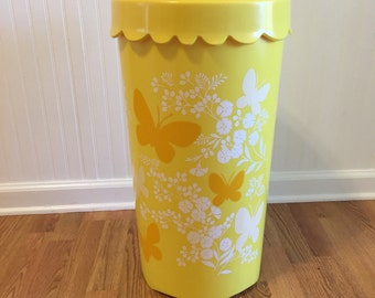 YELLOW LAUNDRY BASKET with Lid/Butterflies/Yellow Hamper with Lid/Retro Hamper/Retro Laundry Basket, Vintage Laundry at A Vintage Revolution