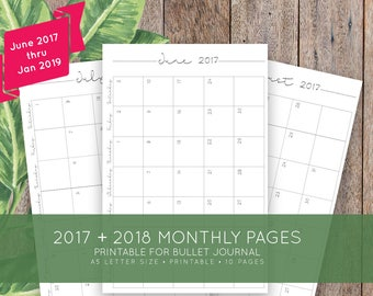June 2017 to Jan 2019 Monthly Printable Calendar for Bullet Journal, Moleskine + Leuchttrum