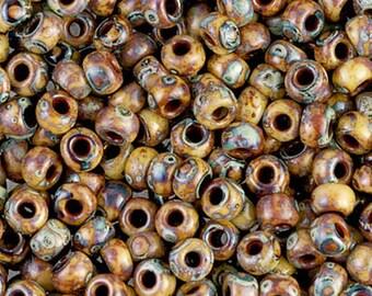 6/0 Brown Tan Matte Picasso Seed Beads - Miyuki 6/0 Matte Brown Picasso Seed Bead - 15 grams - Color Miyuki 6-4517 - 1216