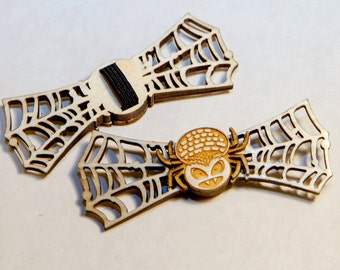 Halloween Small Wooden Spider Bow