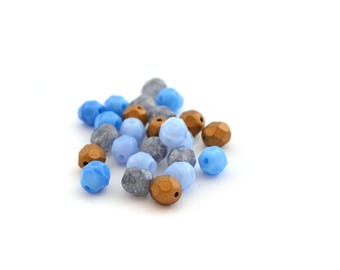 Mix of blue and Brown 6mm faceted Czech glass 25 beads