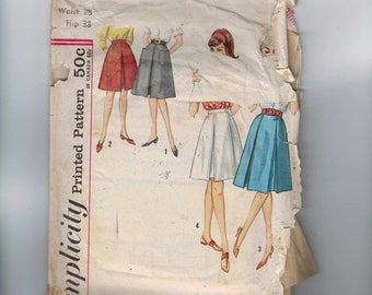 1960s Vintage Sewing Pattern Simplicity 4896 Misses Set of Skirts Flared with Inverted Pleats Waist 28 Hip 38 60s