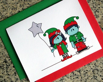 zombie elf girl & boy holiday christmas greeting cards / notecards / thank you notes (blank or custom inside) with envelopes- set of 10