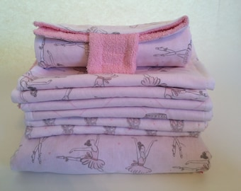Pink Ballerina Package Deal - Nap Blanket, Set of 6 Burp Cloths, and a Portable Diaper changer