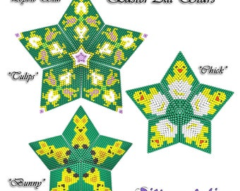 Beading Pattern/Tutorial EASTER All Stars 3D PEYOTE STAR + Basic Instructions
