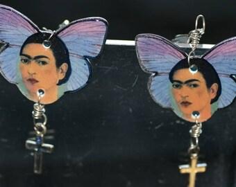 Frida on Purple butterfy with cross dangle earrings