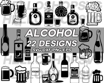 alcohol svg, beer mug, liquor svg, booze svg, vodka, wine, champagne, whiskey, rum, beer, clipart, stencil, cut file, silhouette, iron on