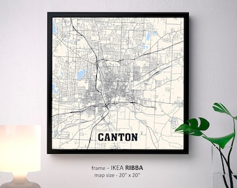 Canton Ohio Map Print, Canton Square Map Poster, Canton Wall Art, Canton gift, Custom Personalized map