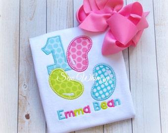 Jelly Bean shirt or bodysuit- Easter shirt- Birthday shirt- Girl Birthday Shirt- Jelly Bean Birthday- Candy Shirt- Monogram Birthday Shirt