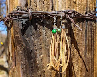 Leather Tassel Earrings with Green Mother of Pearl Beads