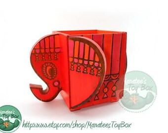 Vintage Psychedelic Elephant Wood Box: Planter or Tissue Box Holder 1960s