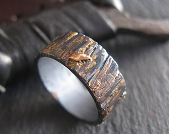 Rose Gold Bark Ring Unique Mens Wedding Band Mens Wedding Band Rustic Mens Wedding Ring Rustic Wedding Band Viking Wedding Ring Mens Wedding