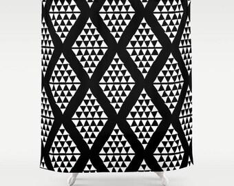 Black and White Shower Curtain, Minimalist Shower Curtain, Minimalist Bathroom Decor, Geometric Shower Curtain, Triangles Shower Curtain