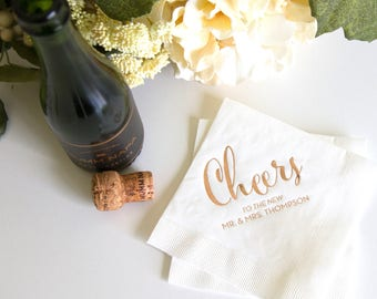 Cheers to the New Mr and Mrs Personalized Wedding Napkins - Bridal Shower - Rehearsal Dinner - Engagement Party Napkins